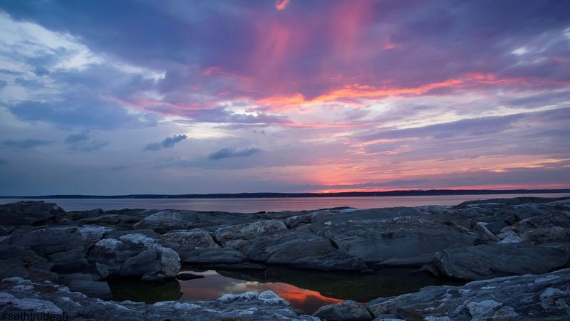 Sunset in New England Water Tranquil Scene Sunset Scenics Sea Tranquility Beach Horizon Over Water Beauty In Nature Rock - Object Tourism Vacations Dramatic Sky Idyllic Stone - Object Cloud - Sky Dusk Sky Nature Shore Sethtrudeau Photography Maine New England  Pink