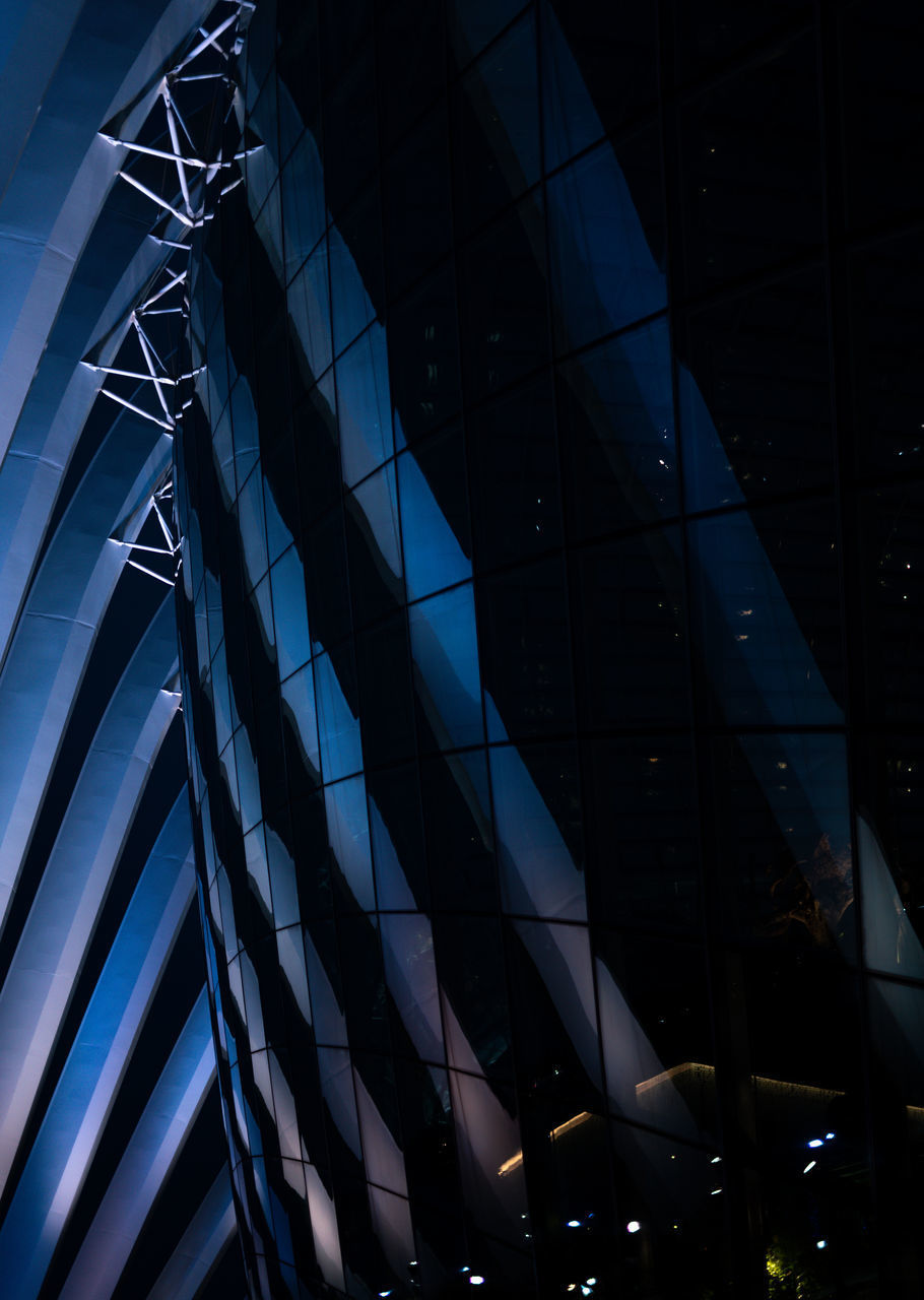 architecture, built structure, low angle view, no people, pattern, glass - material, night, building exterior, building, modern, full frame, nature, design, transparent, illuminated, outdoors, architectural feature, city, ceiling