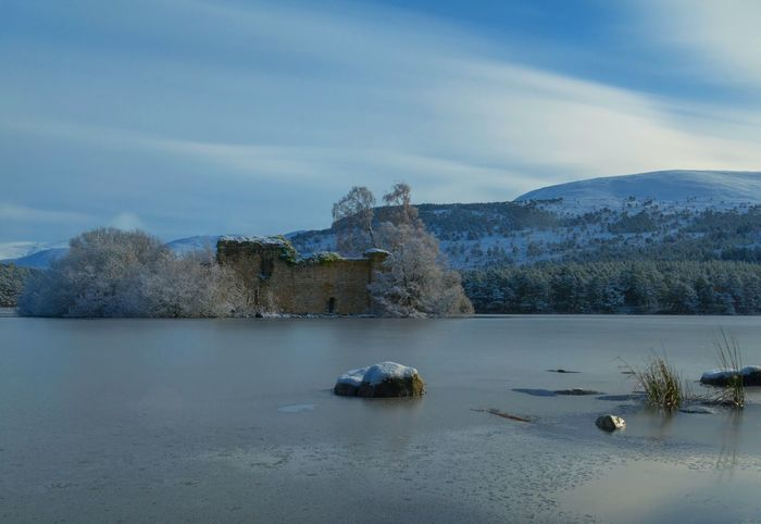 Loch An Eilein Cairngorms Winter Castle Frozen