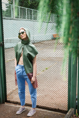 Smooth Confess Branches Fashion Glasses Linas Was Here Woman Blue Pants  Female Fence Girl Model Raincoat Tempting Tennis Court