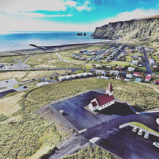 Iceland_collection Iceland Vik Vik I Mydral South Iceland Travel Photo Drone  Drone Photography Travel Inspiration Church Religion Aerial Photography