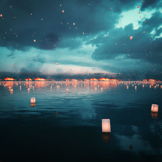Lanterns Atmospheric Mood Death Dramatic Sky Floating Lanterns Majestic Night Reflection Refugees Sea Sky Syria  Tranquil Scene Victims War Warefare Water