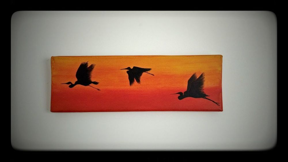 Herons - PiLIPA on Etsy Animal Themes Painted Image Bird Acrylic Art Herons Three Birds No People Warm Colors Calming Image Relaxing Relaxing At Home Flying Birds Above Sun Birds Silhouette Environmental Art