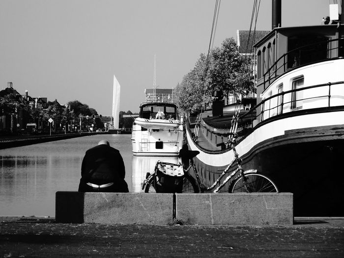 Pensive B&w Boat Canal Monochrome One Person Street Streetphotography