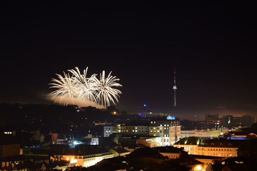 Vilnius Fireworks festival Built Structure Celebration City City Life Cityscape Event Exploding Firework Firework - Man Made Object Firework Display Illuminated Night No People Outdoors Sky Sparks Spire  Tourism Vilnius Fireworks Festival