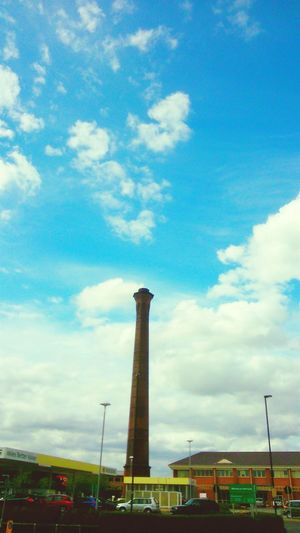 Tower Tall Blue Sky Clouds York Morrisons Petrol Station