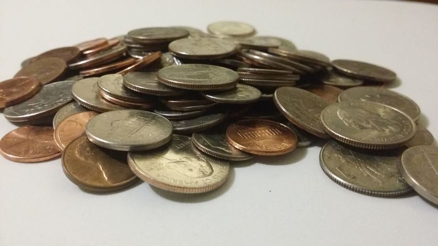 Pile of US coins First Eyeem Photo