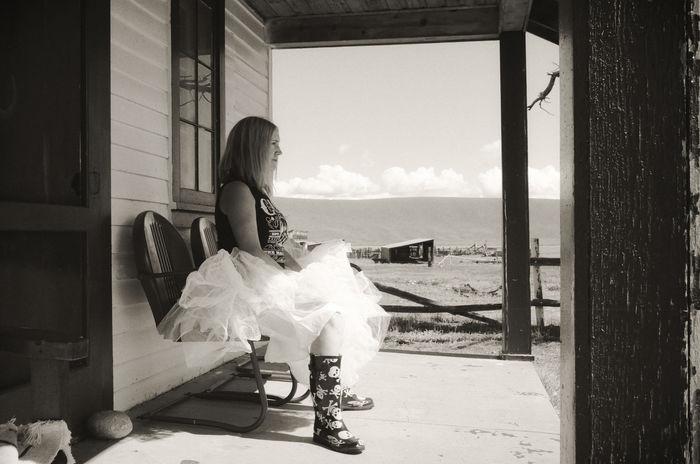 Debutante 35mm Film Ballerina Boots Colorado EyEmNewHere Porch Ranch Waiting Woman Blackandwhite Cowgirl Girl Monochrome One Person Prom Rurex Skull Tutu Western