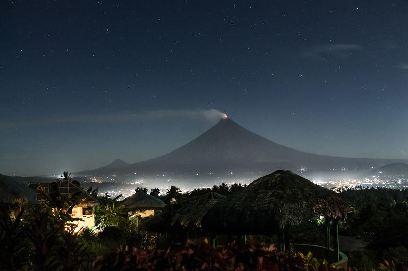 Panoramic view of crowd at night