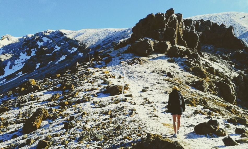 Adult Adventure Beauty In Nature Clear Sky Climbing Cold Temperature Day Hiking Landscape Mountain Mountain Peak Mountain Range Nature One Person Outdoors People Rock - Object Scenics Sky Snow Tongariro Alpine Crossing Tongariro Crossing Tongariro National Park, Winter EyeEmNewHere