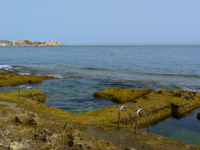 Ladder Malta Mediterranean  Railing Beach Beauty In Nature Clear Sky Horizon Horizon Over Water Mediterranien Sea Natural Pool Nature No People Pool Rock Rock - Object Rock Beach Scenics - Nature Sea Sky Sliema Stone Beach Tranquil Scene Tranquility Water