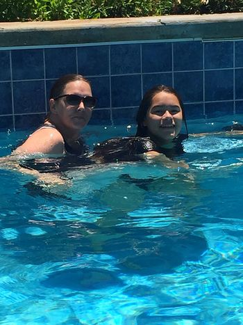 Mother and daughter Swimming Pool Pool Water Swimming Adult Women Two People