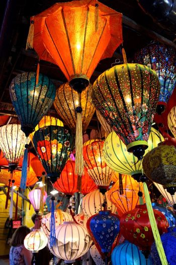 Hoi An Lanterns Lighting Equipment Lantern Hanging Illuminated Market Large Group Of Objects Low Angle View No People Multi Colored Night Indoors  Close-up Vietnam Hoi An Travel