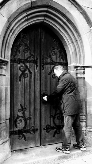 Full Length Door One Person Outdoors Real People Day Architecture Building Exterior One Man Only Adult Church Door Locked Brough Cumbria England UK