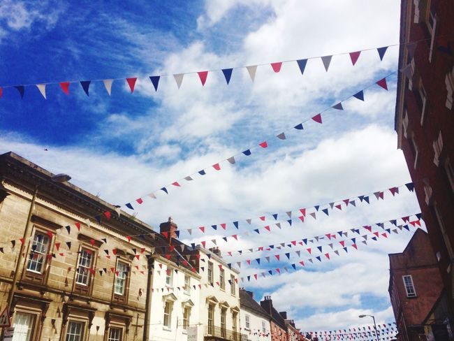 Ashbourne Ashbourne Derbyshire Town Sky Flag Bunting Low Angle View Building Exterior Cloud - Sky Hanging Built Structure Summer Outdoors Multi Colored Architecture Celebration Day No People Nature