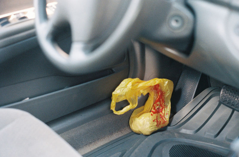 High angle view of bread in car