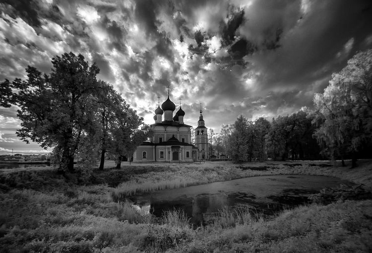 Cathedral against cloudy sky