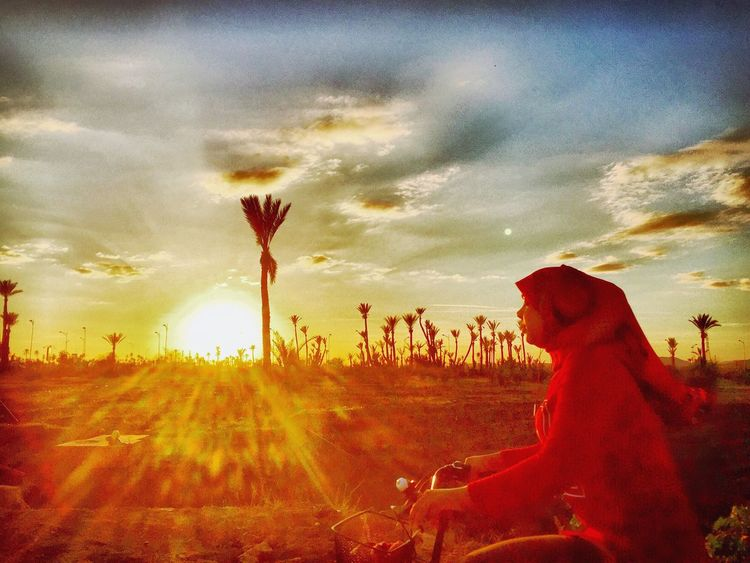 Morocco Sunset Sunset #sun #clouds #skylovers #sky #nature #beautifulinnature #naturalbeauty #photography #landscape Red Palms Womaninred Biking Oasis Follow The Journey