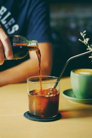 Cold brew coffee on old wood table Refreshment Drink Glass Lifestyles Freshness Coffee Caffeine Cafe Morning Breakfast Break Beverage Lifestyle Barista Business Shop Aroma Tasty Cool Black Hand Relax Vacation