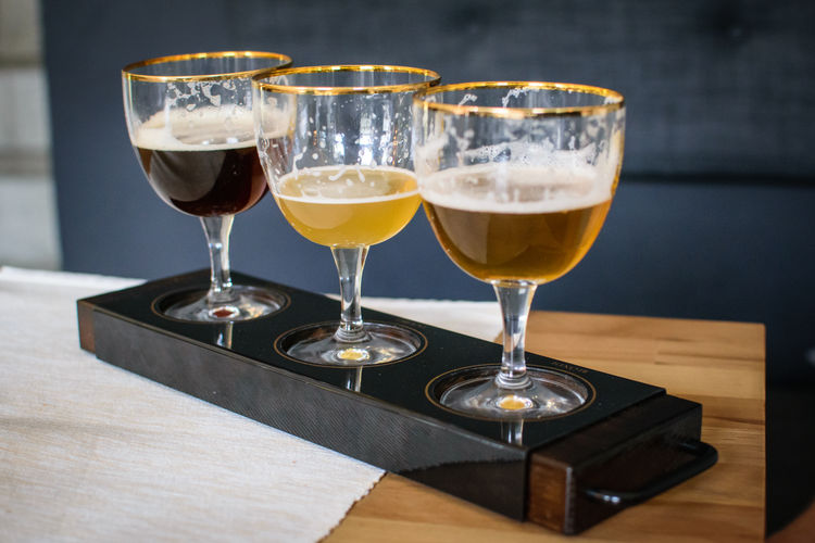 Close-up of beer in glass on table