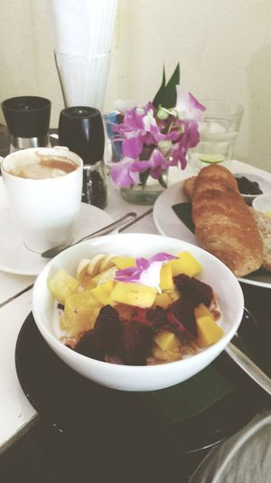 THE HIDEOUT - Chiang Mai, Thailand // Breakfast Cornflakes And Milk Fruits Dragonfruit Banana Mango Nice Day THE HIDEOUT