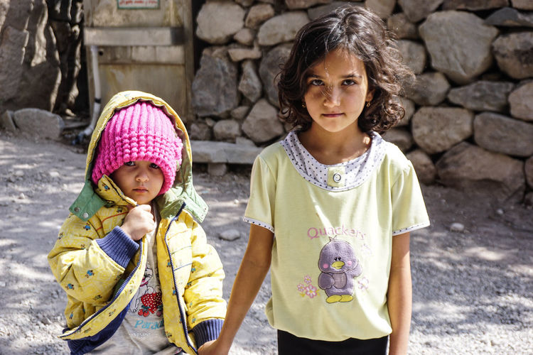 Travel Destinations Travel Photography Iran Shia Community Nomadic Zoroastrian Islamic Architecture Child Childhood Females Girls Women Front View Family Togetherness Real People Two People Portrait Innocence Sibling Clothing Sister Looking At Camera Cute Warm Clothing