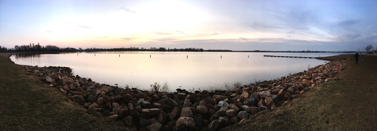 Zen moment IPhoneography Water Sky Nature Sunset Beauty In Nature Cloud - Sky Lake Outdoors Day Panoramic Scenics
