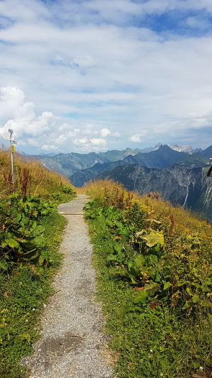 Summer Sun Mountains Top Of The World Path High Fellhornbahn Germany Silence Sereen Serenity Mountain Herbs On Top Climbing Outdoors No People Steep Wide View Sky Clouds Clouds And Sky Moutain Top Moutain And Sky Mountain Rural Scene Sky Landscape Mountain Range Cloud - Sky