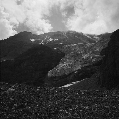 Rocks, snow and ice. Below Mt. Königspitz - Il Gran Zebrù Blackandwhite Hipstamatic