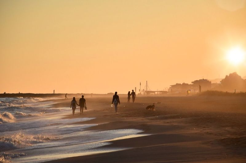 The gold hour _____ Calm Peace Walking Sea Seaside Beach Sunset Sun People Enjoying The Sun
