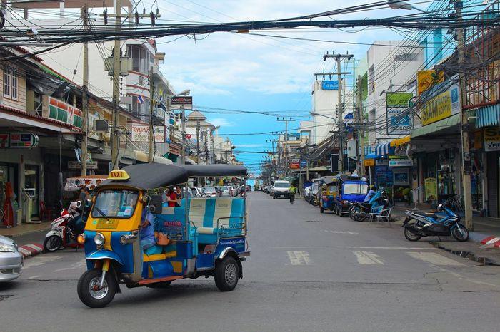 #bluesky #harmony #huahin #postcard #Road #satisfy #taxi #Thailand #tuktuk