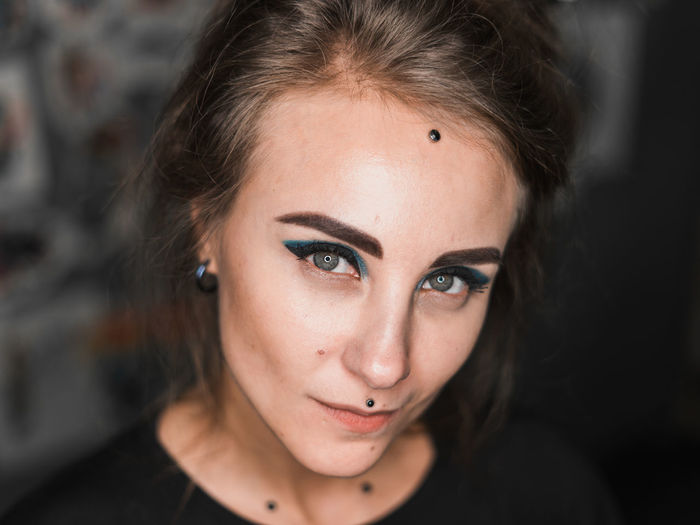 Piercing master, portrait Portrait Looking At Camera Young Adult Beautiful Woman Young Women Front View Indoors  Adult Hairstyle Headshot One Person Women Beauty Focus On Foreground Close-up Lifestyles Hair Body Part Human Body Part Human Face Contemplation Depression - Sadness