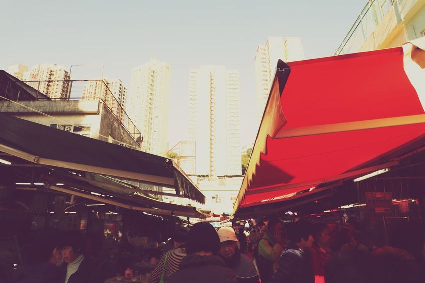 City Outdoors Red Day People Crowd Adult