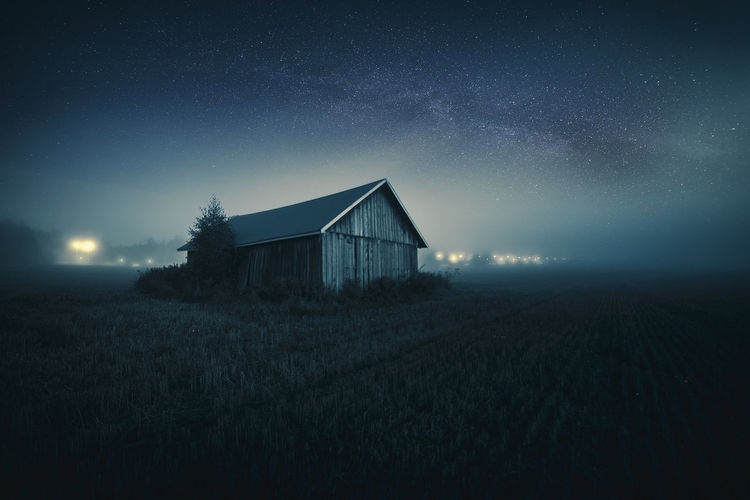 Astronomy Barn Field Fine Art Photography Finland Milky Way Mood Mystical Nature Night Nightphotography No People Outdoors Sky Space Star - Space Stars