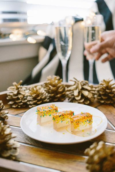 Be. Ready. DIY butterscotch Jell-O shots for Christmas and New Year's. Dessert Indulgence Sweet Food Food Photography Food And Drink Dessert Time Austin, TX Jello Shots Jello Christmas Decoration Christmas Time Christmas Spirit December New Year's Eve New Years New Year's Day Gold Colored Gold Food Pinecones Champagne Champagne Glasses