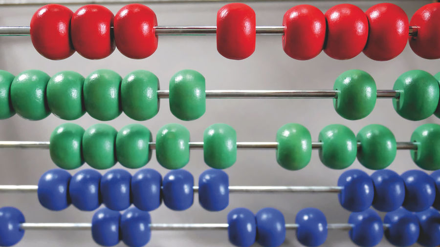 Close-up of multi colored abacus against wall