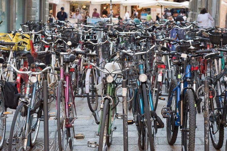 Bike parking Large Group Of Objects Transportation Day Bicycle City Mode Of Transportation Abundance Outdoors