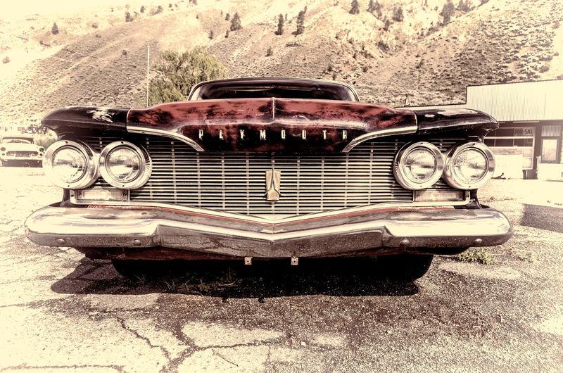 , Spences Blackandwhite Photography Border Bumper Classic Car Grill Headlights Plymouth Postcard