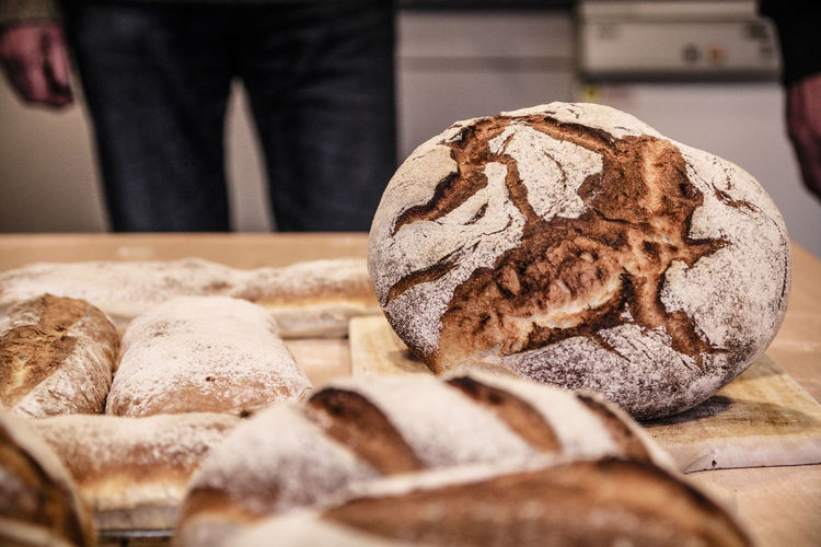 Detail Shot Of Bread On Table
