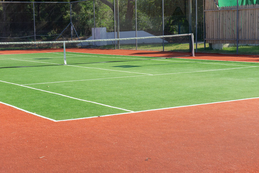 Sport Green Color Absence Court Empty Grass Tennis Plant Net - Sports Equipment No People Playing Field Day Nature Outdoors Yard Line - Sport Competition Tennis Net Team Sport Boundary Tree Match - Sport