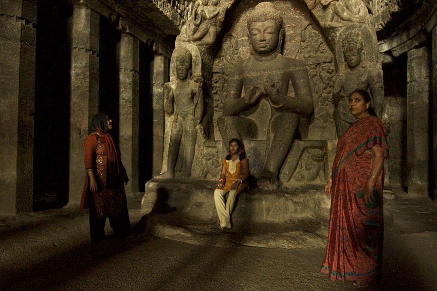 Adult Ajanta Caves Ancient Ancient Civilization Creativity Day Elora Full Length History Human Representation India Men Outdoors People Place Of Worship Real People Religion Sculpture Spirituality Standing Statue Travel Destinations Women