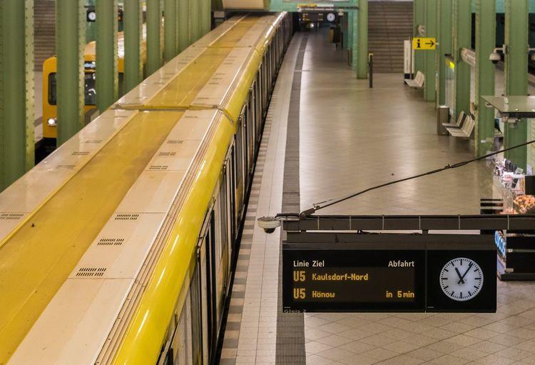 High Angle View Of Trains At Subway Station