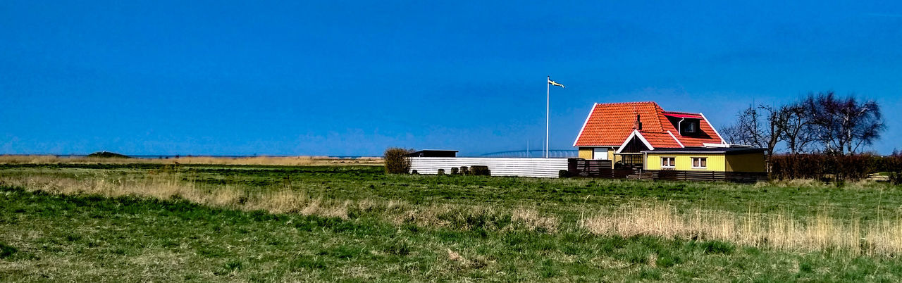 Swedish Coast of öresund Straight between Sweden and Denmark 🇩🇰🇩🇰🇩🇰 Sweden ❤️ Svensk Sommar Svensk Natur Sea Blue Sky Sky And Clouds Swedish Flag Pole House Beach Beachphotography Beach Life Panoramic Panoramic Landscape Panoramic Photography Panorama