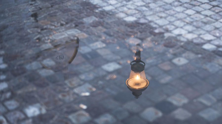 High angle view of light bulb on street