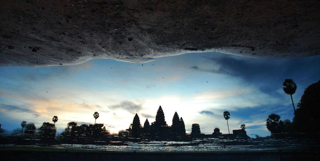 Angkor Wat Angkor Wat Water Refection Angkor Wat, Cambodia, Royal Ballet Of Cambodia, Monument, Siem Reap Angkor Wat, Temples, Kmer Culture Beauty In Nature Cultures Day Kingdom Of Cambodia Nature No People Outdoors Refection Siem Reap Siem Reap, Cambodia Silhouette Sky Tree Water Reflections Upside Down