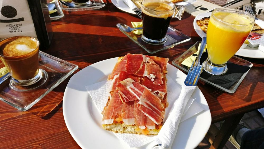 Food And Drink Table Plate Food Serving Size Drinking Glass Freshness Drink Restaurant Ready-to-eat No People Temptation Orange Juice  Coffee Cup Jamon Serrano Island Ciutadella