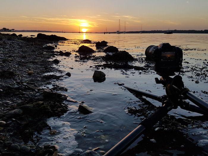 Sunset Water Scenics Sea Beauty In Nature Beach Sun Sky Shore Reflection Nature Remote Reflection Calm Amazing Nikon Beautiful Camera Camera Capture The Moment