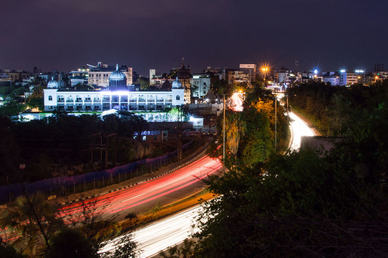 Long Exposure High Angle View Light Trail Cityscape Telangana Bhavan Night Photography In Motion