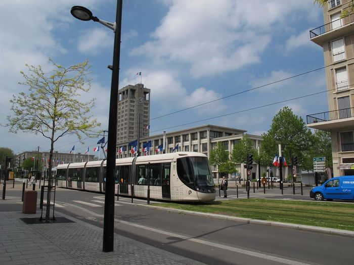 A tram in Le Havre Tram Architecture Building Exterior Built Structure Car City Cloud - Sky Day Land Vehicle No People Outdoors Road Sky Street Transportation Tree