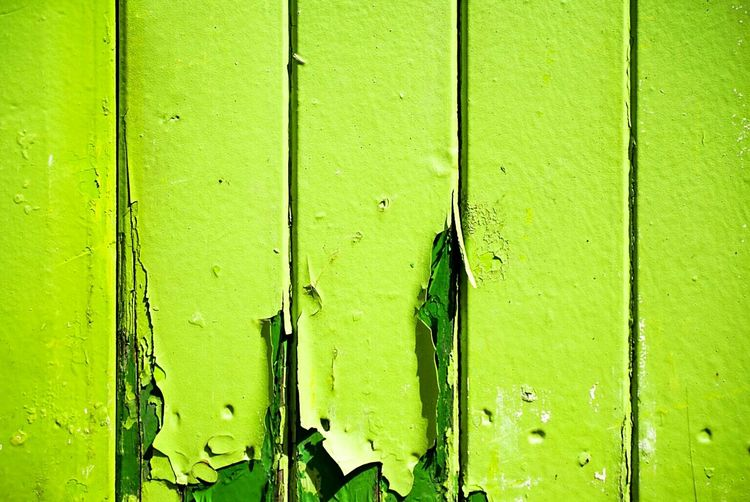 Full Frame Shot Of Green Peeled Wall On Sunny Day